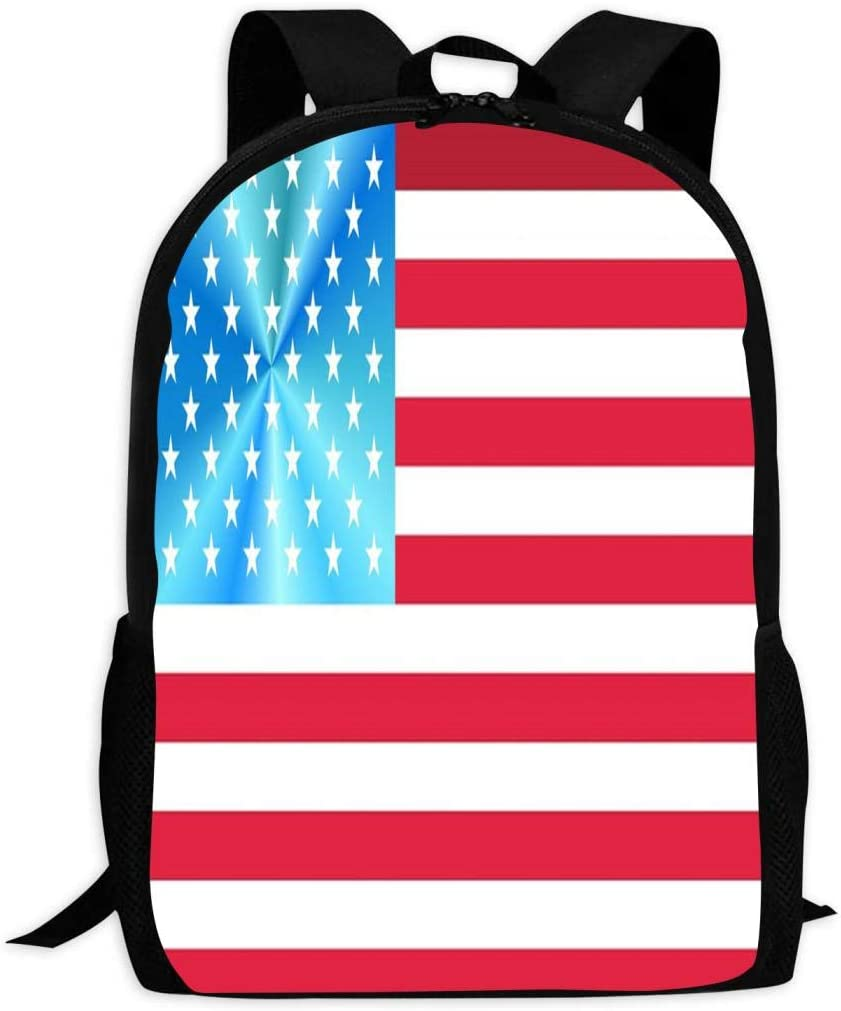 Gradient Ray Flag Oversized Field Pack Casual Waterproof Adjustable Shoulder Strap Schoolbag for Teenagers and Adults