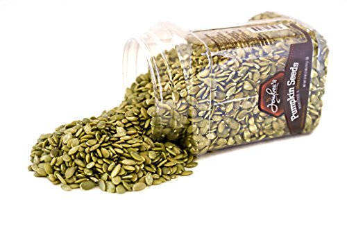 Jaybee's Nuts Pumpkin Seeds Pepitas - Roasted Unsalted (2 LBS) Fresh, Vegetarian Friendly & Kosher Certified -Great Healthy Everyday Snack - Reusable Container (Seeds Pepita)
