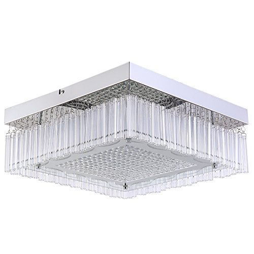 Crystal LED Ceiling Square Light Flush Mount LED Light Fixtures Ceiling Lamp Raindrop Chandelier Colse to Ceiling Lights Ceiling Light Fixture,Glass+Metal+Crystal Pendant Lamp for Dining Room,15Inch