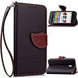 "Pixi 3 (4.5) Case, One Touch Pixi 3 (4.5) Case, SATURCASE Unique Leaf Magnet PU Leather Flip Wallet Stand Card Slots Case Cover For Alcatel One Touch Pixi 3 4.5"" Black"