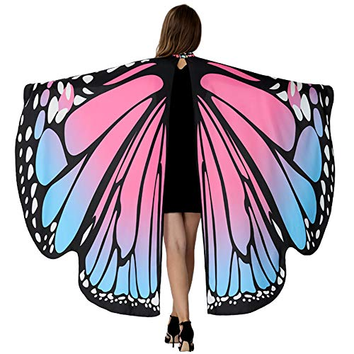 (HITOP Butterfly Wings For Women, Butterfly Shawl Fairy Ladies Cape Nymph Pixie Costume)