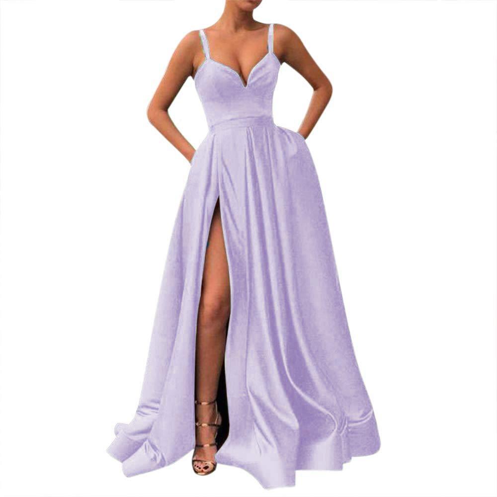 Lavender Fanciest Women's Spaghetti Straps Slit Satin Prom Evening Dresses with Pockets