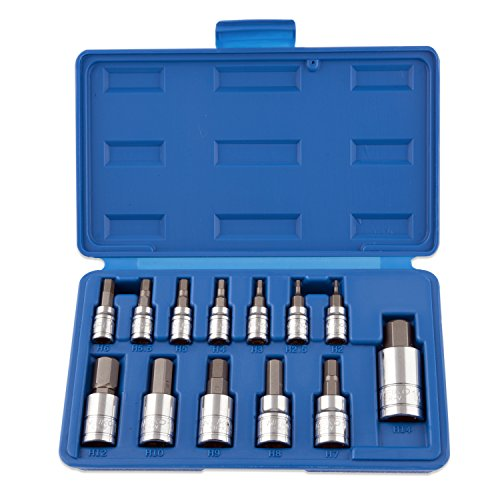 Neiko 10074A Hex Bit Socket Set, S2 Steel | 13-Piece Set | Metric Bit Socket Set Set