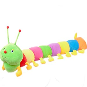 "20"" Long Plush Hungry Caterpillar for Baby Kids, Colorful Worm Stuffed Animals Toys Insect Caterpillar Juguetes Throw Pillow for Home Nursery Decoration"