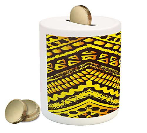 - Ambesonne Tribal Piggy Bank, Hand Drawn Painted Ethnic Pattern with Zig Zag and Stripes African Geometric Art, Printed Ceramic Coin Bank Money Box for Cash Saving, Yellow Black