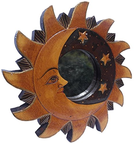Thorness Wooden Sun and Moon Wall Hanging Decorative Mirror