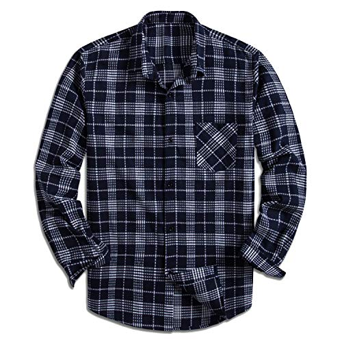 (Yangxinyuan Men's 100% Cotton Long Sleeve Plaid Fleece Shirt Button Up Flannel Shirt (YXY1001, M))