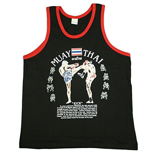 Men's Tank Top Singlet Vest Gym Muay Thai Men T-shirt Cotton 100% Made in Thailand (Black, M)