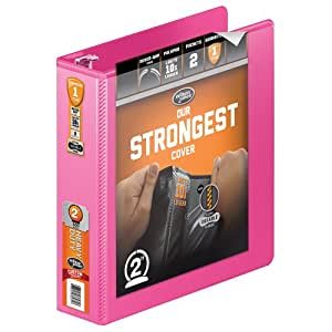 Wilson Jones Heavy Duty Round Ring View Binder with Extra Durable Hinge, 2 Inch, Customizable, Bright Pink (W363-44-212)