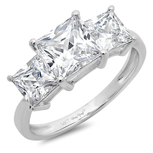 DQ Jewelry 2ct Brilliant Princess Cut Solitaire Three Stone Engagement Wedding Promise Ring in Solid 14k White Gold, Size 5.75