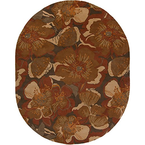 Surya Athena ATH-5102 Transitional Hand Tufted 100% Wool Sepia 8' x 10' Oval Floral Area Rug