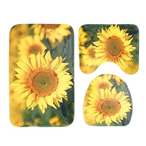 OZYN Bath Mat Rugs Set 3 Flannel Bathroom Mat Three-Piece Sunflower Print Non-Slip Water Absorption Bath Mat Pedestal Mat Toilet Seat Cover Mat ()