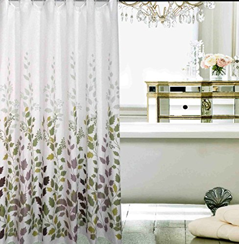 Blu Pier Decorative PEVA Mildew Free Water Repellant Shower Curtain 72x72  Comes With 12 Hooks (Flowers And Leaves)