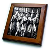 "Vintage Halloween Witches Coven Early 1900s Scary Framed Tile is 8"" x 8"" with a 6"" x 6"" high gloss inset ceramic tile, surrounded by a solid wood frame with pre-drilled keyhole for easy wall mounting."