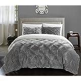 chic home 3 piece josepha pinch pleated ruffled u0026 pintuck sherpa lined comforter set queen grey