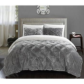 chic home 3 piece josepha pinch pleated ruffled u0026 pintuck sherpa lined comforter set queen