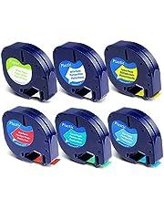 Replace DYMO LetraTag Label Maker Refills LetraTag Paper/Plastic Label Tape 91330 91331 91332 91333 91334 91335 for DYMO LetraTag LT-100H LT-100T QX50 Label Makers, 12mm x 4m(1/2 Inch x 13 Feet), 6P