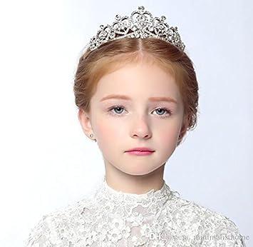 1 プリンセスクラシック花嫁髪型ティアラかわいい女の子ティアラ王冠の部分のすべての水晶