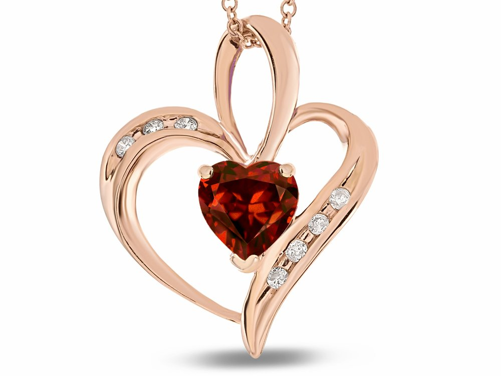 Star K Heart Shape 6mm Genuine Garnet Pendant Necklace 10 kt Rose Gold