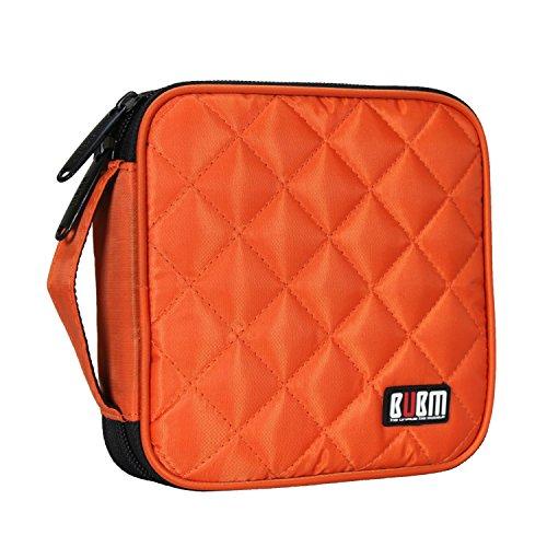 BUBM Padded 32 Capacity CD DVD Case Wallet Organizer Storage Binder, Orange ()