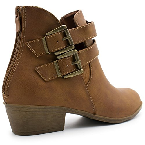 14 Stacked Tan Premier Top Straps Moda Women's Buckle Cl Heel Low Booties Ankle Z7qgwYEqn