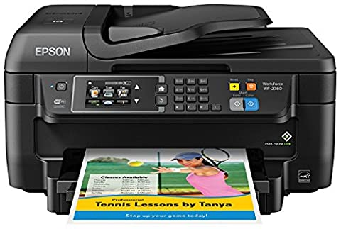 Epson WF-2760 All-in-One Wireless Color Printer with Scanner, Copier, Fax, Ethernet, Wi-Fi Direct & (Scanner Copy Printer)