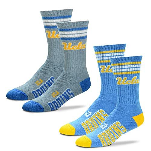 Ucla Bruins Basketball - For Bare Feet Men's 4 Stripe Deuce Crew Socks-UCLA Bruins-Large-2 Pack