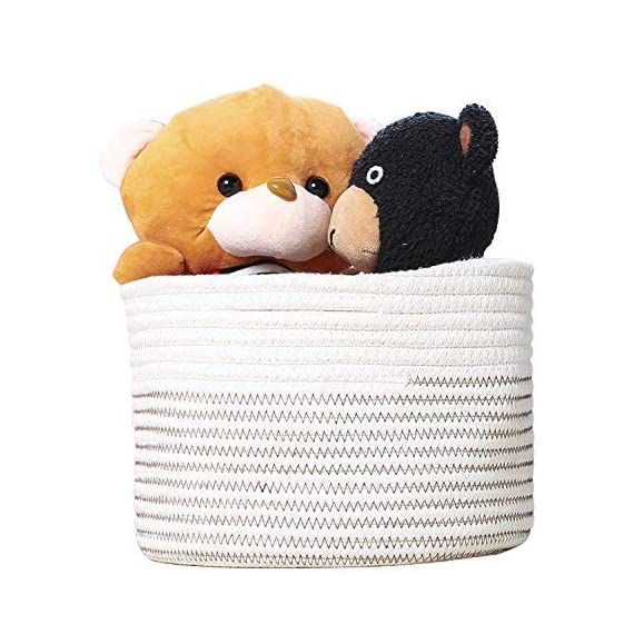 INDRESSME Small Storage Basket - Cute Cotton Rope Basket - Closet Storage Bins - Desk Basket Organizer - Baby Nursery… - Neutral color design, multiuse design and healthy material, no scratch to kid's skin and also the woody shelf, perfect closet storage baskets Extensive use: hold toys, books, magazines, cosmetics, jewelry, headset wire, wire, remote control, magnetic card, keys, note storage, vegetables, fruits, stationery, CD, medicine, flowers and more, fits on a bedside table, closet shelf, bookshelf, desk etc Easy to move and take away, free awesome practical cotton rope storage baskets - living-room-decor, living-room, baskets-storage - 51oXSCf%2BHkL. SS570  -
