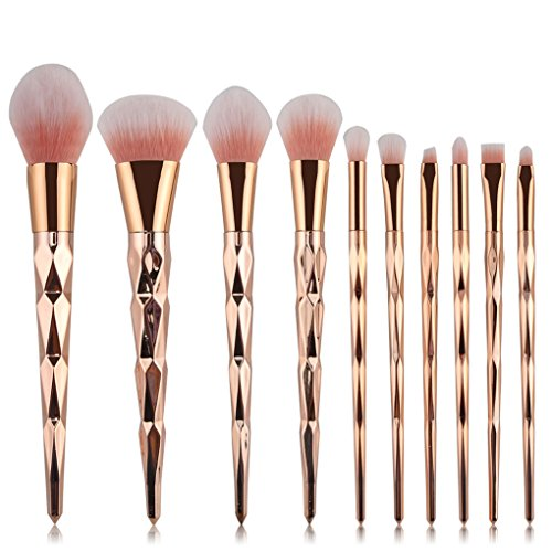 10 Pcs Unicorn Shiny Gold Diamond Makeup Brush Set Professional Foundation Blending Blush Eye Face Liquid Powder Cream Cosmetics Brushes (Golden)