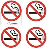 """Outdoor/Indoor (4 Pack) 4"""" Dia NO SMOKING Warning Alert Decal Sticker Window Door Wall stop smoke No cigarette logo ** Back Self Adhesive Vinyl **"""
