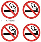 1) 4 Pack NO SMOKING Sign Window Door Wall Warning Alert Sign Sticker Decals.  2) Back Self Adhesive Vinyl. It is perfect for outdoor and indoor use.  3) Simply remove the decals from the wax paper and stick on windows, doors and walls to stop smokin...