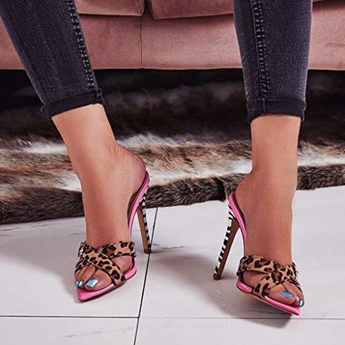 Pointu Femmes Super Heel Toe Sexy on Open Slip Ansenesna High Rose Léopard Spike Chaussures qX8gxw0gPd
