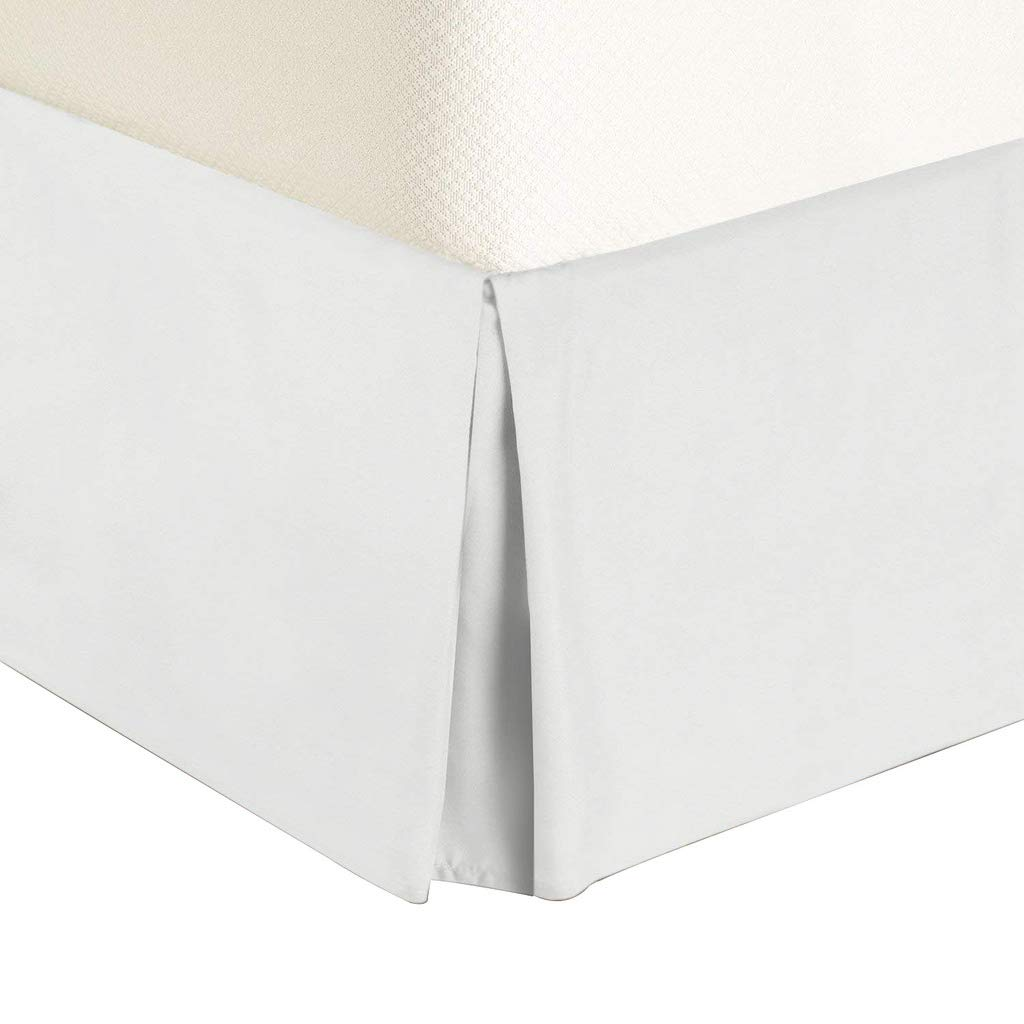 Urban Bed Brushed Microfiber 18 Inch Drop Extra Long Bedskirt Pleated and Split Corner - Queen White Solid by Urban Bed (Image #3)