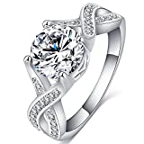 FENDINA Jewelry Womens Luxurious 18K White Gold Plated Cubic Zirconia Infinity Love Solitaire Promise Eternity Ring Engagement Wedding Anniversary Band Her, Size 7