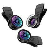 【3 Clips】Fisheye Lens, Mpow 3 in 1 Clip-On Lens Kits 180 Degree Fisheye Lens + 0.36X Wide Angle Lens + 20X Macro Lens with 3 Separate Lens for iPhone 7/6/6s Plus/5/SE, Samsung S8/S7/S6, LG HTC and and Other Smartphon