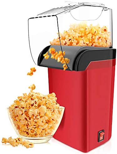 Hot Air Popcorn Maker Machine 1200W, RegeMoudal Home Popcorn Maker with Removable Top Cover and Measuring Spoon, Healthy Oil-Free for Parties & Kids Easy to Clean, 2-3 Minutes Fast, Red