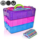 Holds 600 - Tiny Toy Box Shopkins Storage Case Organizer Container - Stackable Collectors Carrying Tote Compatible With Mini Toys Colleggbles Lol Fash'ems Tsum Tsum Hot Wheels (Rainbow)