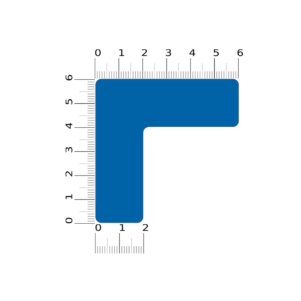 "5S Location Marking Corner, 6x6x2''"" Durable L Shaped Floor Sticker - by Graphical Warehouse – Vibrant Colors, Rounded Corners, (15 Pack) Blue"