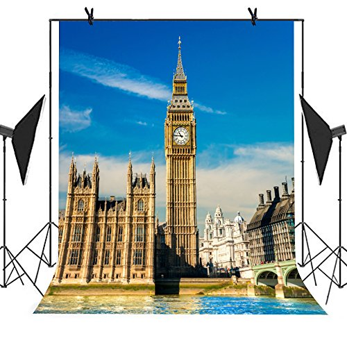 MEETS 5x7ft City Landmark Backdrop Big Ben in London Backdrop Photo Booth Studio Props Theme Party YouTube Backdrop (Party City Backdrop)
