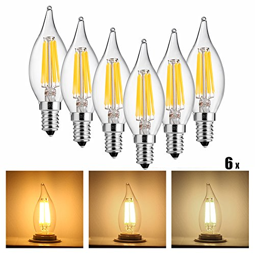 Light Chandelier Candlelight (LEDGLE 6W LED Light Bulbs Dimmable E12 LED Lamp Bulb Filament Candle Lights for Chandelier and Wall Lamp, Warm White, 2700K, 600lm, Wide Beam Angle, 50W Traditional Bulb Equivalent, 6 Pcs)