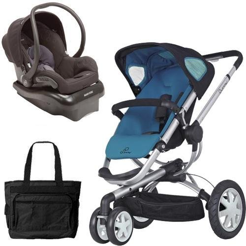 (Quinny Buzz 3 Travel System in Blue Black with Diaper Bag)