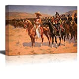 The Mexican Major (1889) (The Wild West or The Troops) by Frederic Remington - Canvas Print Wall Art Famous Painting Reproduction - 32'' x 48''