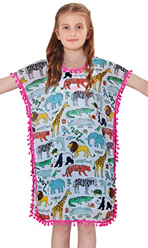 Size 10 Pool Cover Up for Little Kid Girls Summer Funny Lion Tiger Giraffe Elephant Dolphin Hippo Zebra Tortoise Crocodile Printed Flowy Tassel Cover-Ups Personalized Comfy Sun Suit Clthing,L