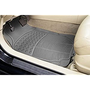 Zone Tech All Weather Rubber Semi Pattern Car Interior Floor Mats – 4-Piece Set Gray Heavy Duty Car Interior Floor Mats