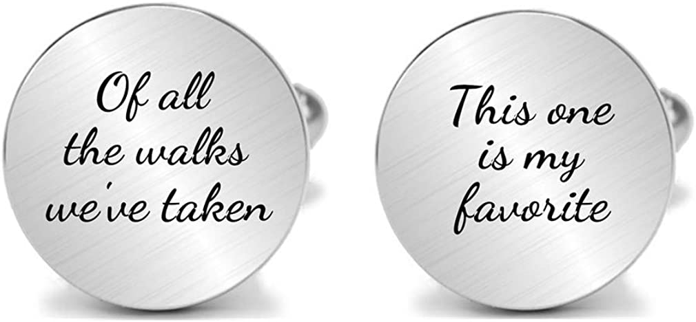 Kooer Personalized Engraved Cuff Links Tie Clip Set Custom Engrave Phrase Wedding Cufflinks Jewelry Gift for Father Dad of All The Walks We've Taken This one is My Favorite