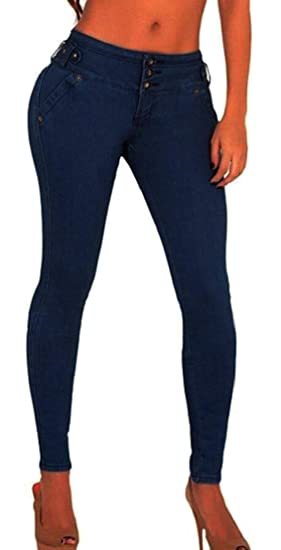 Alion Womens Denim Pants High Waist Skinny Jeans