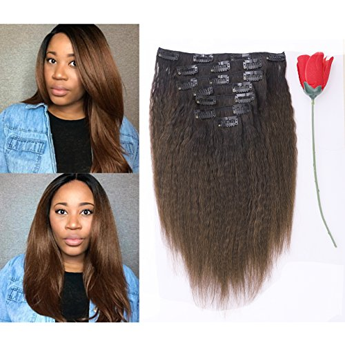 Beauty : Afro Kinky Curly Ombre Human Hair Extensions Clip in Remy #4/27 Strawberry Blonde Real 100% Brazilian 10-22 inch Balayage Hair Color Thick For Black Women (10 inch, Ombre #1B/4 Kinky Straight)