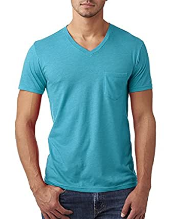 Next Level Men's Short Sleeve V neck Pocket Soft T-Shirt, Small, Bondi Blue