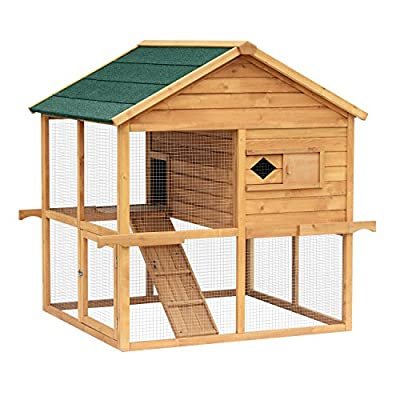"Pawhut 53""× 45""×51"" Overhead Solid Wood Chicken Coop Poultry Cage with Ramp Nesting Box"
