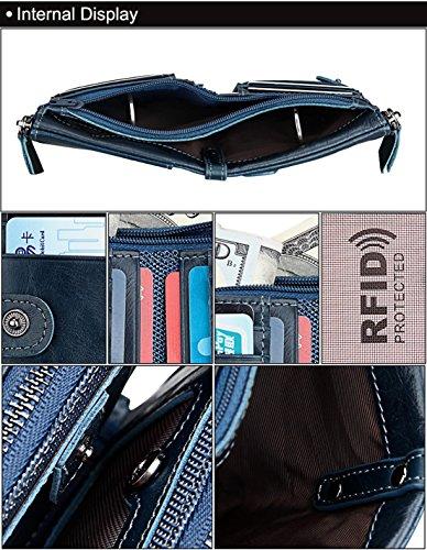 Seaoeey Purse Genuine Zipper Leather RFID Double Pocket Mens Blue Wallet Bifold Coffee Wallet BBwFHqr